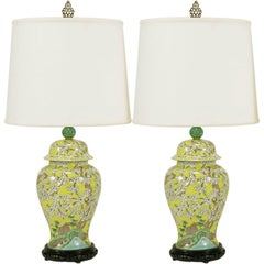 Pair of Imported Hand-Painted Yellow Glaze Ginger Jar Table Lamps