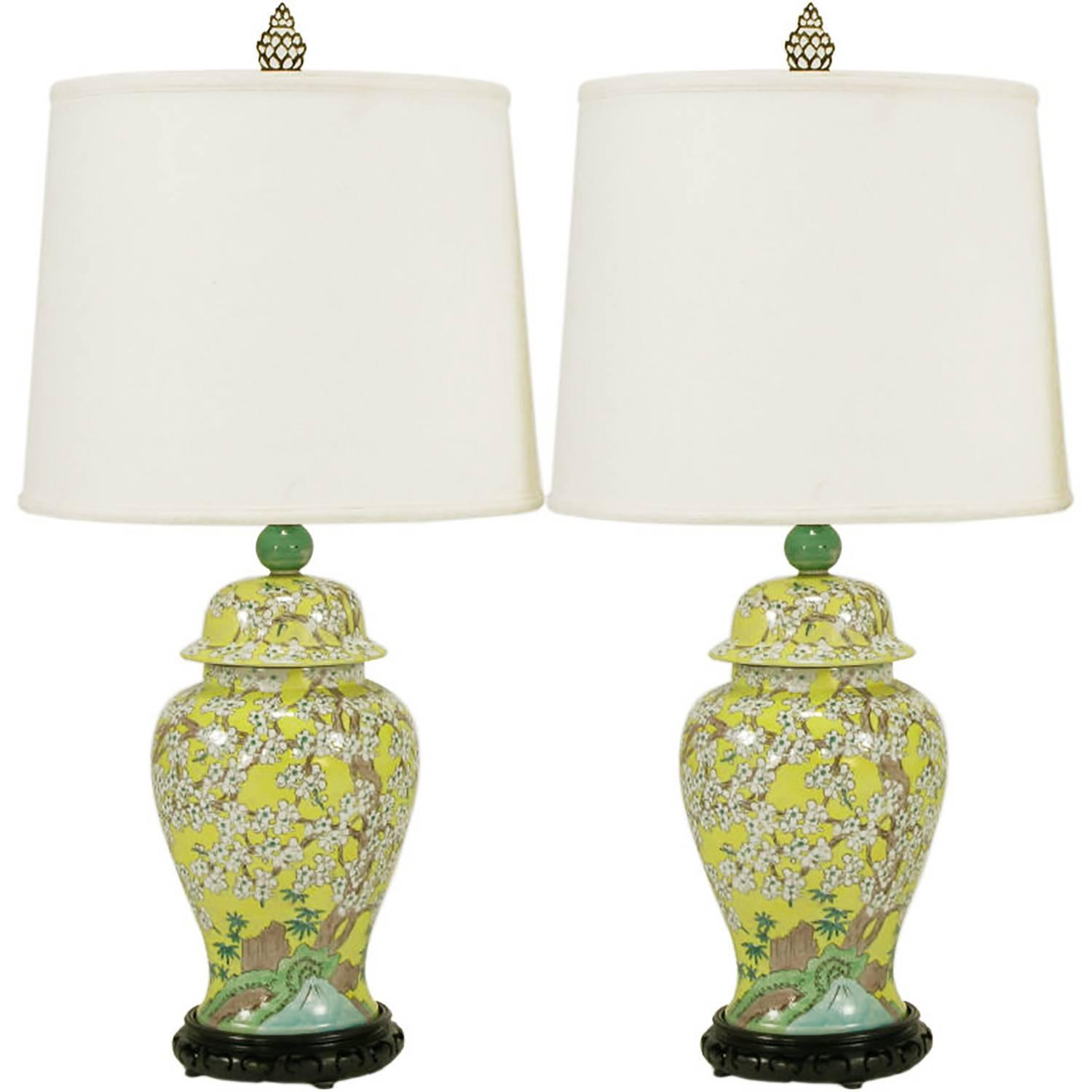 Pair of imported hand painted yellow glaze ginger jar table lamps pair of imported hand painted yellow glaze ginger jar table lamps for sale at 1stdibs geotapseo Gallery