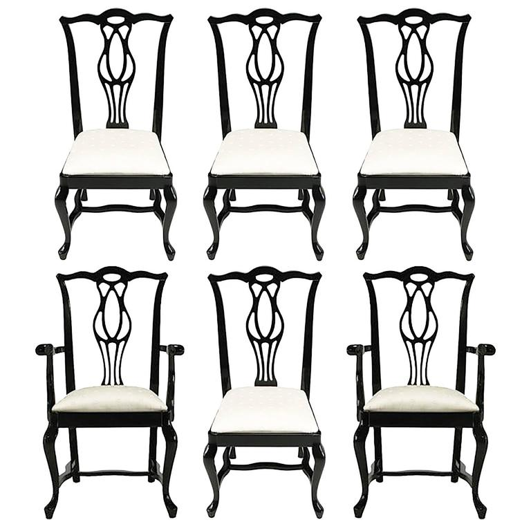 Six Italian Black Lacquer Chinese Chippendale Style Dining Chairs For Sale