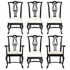 Six Italian Black Lacquer Chinese Chippendale Style Dining Chairs