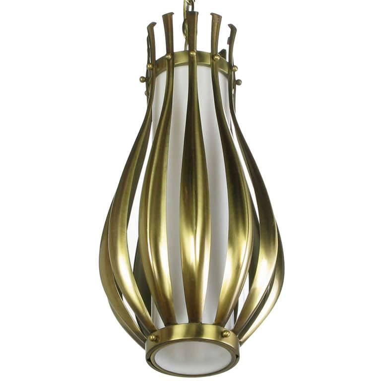 gourd form brushed brass and milk glass pendant light for