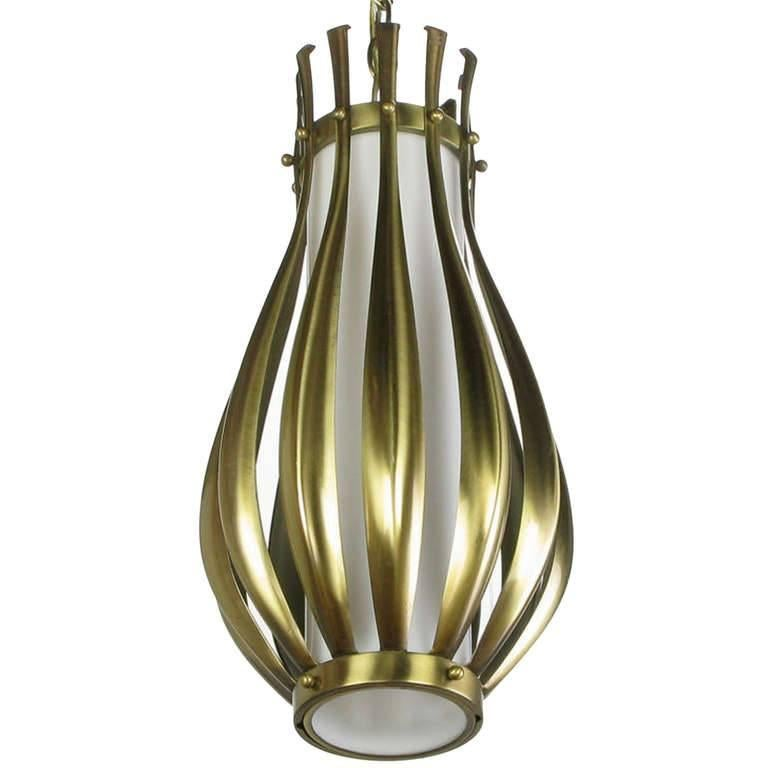 Gourd-Form Brushed Brass and Milk Glass Pendant Light For Sale