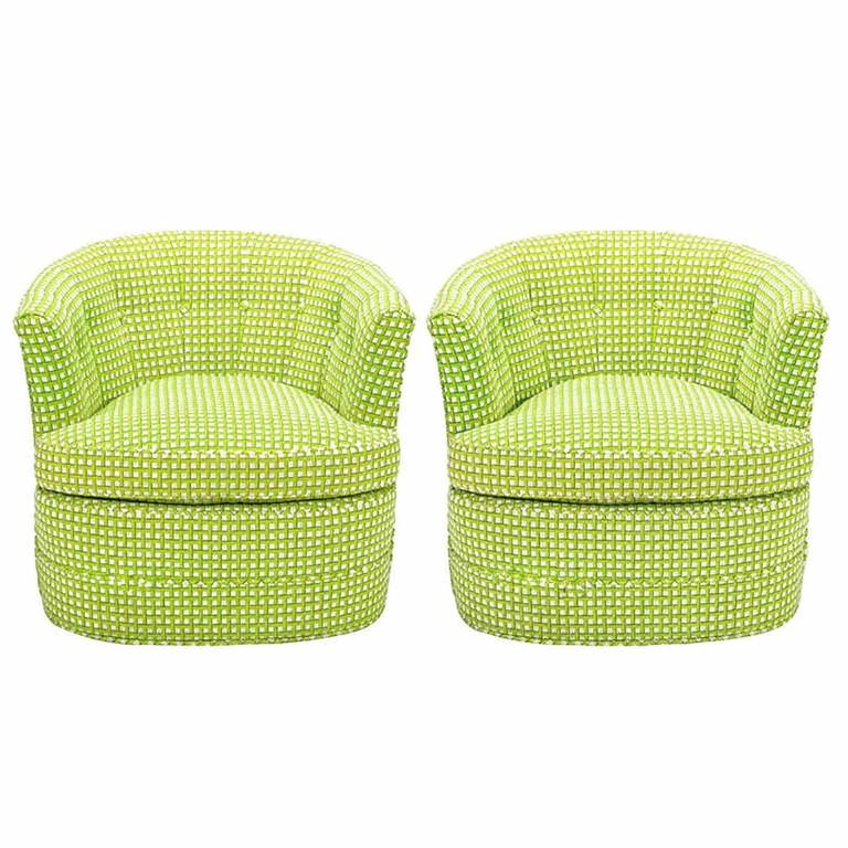 Pair of Barrel-Back Swivel Chairs in Chartreuse Needlepoint For Sale