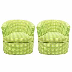 Pair of Barrel-Back Swivel Chairs in Chartreuse Needlepoint