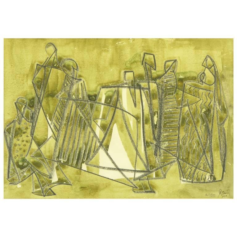 Salah Taher Water Color and Charcoal, circa 1963 For Sale