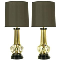 Pair of Rembrandt Brass Open Rib Table Lamps with Crystal Ball Centres