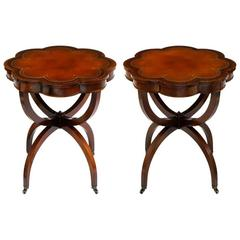 Elegant 1940s Mahogany Spider Leg End Tables with Tooled Leather Top