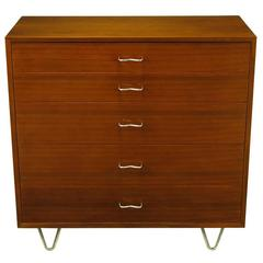 Five-Drawer Ribbon Mahogany Tall Dresser by George Nelson for Herman Miller