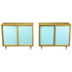 Pair of Harvey Probber Bleached Mahogany and Tiffany Blue Leather Front Cabinets