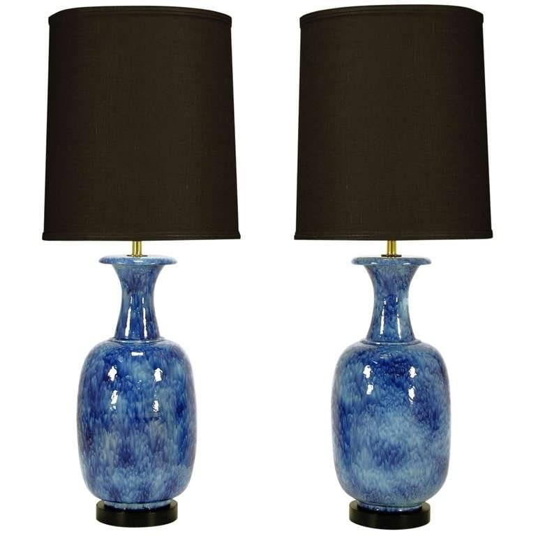 Pair of Italian Stippled Glazed Blue Pottery Table Lamps