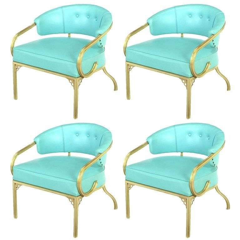 Four John Van Koert Cymbal Collection Gold And Tiffany Blue Lounge Chairs For