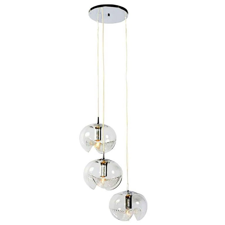 Koch & Lowy Chrome and Blown Glass Triple Pendant Fixture For Sale