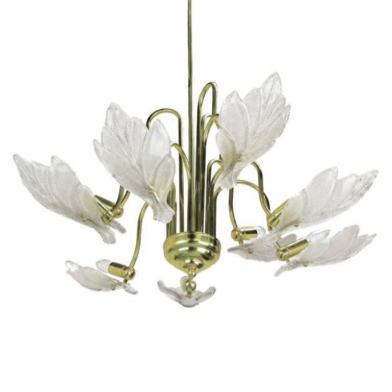Nine-Arm Murano Glass Leaf Chandelier in the Style of Barovier & Toso