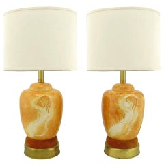 Pair of Sèvres Porcelain Hand-Painted Female Nude Table Lamps