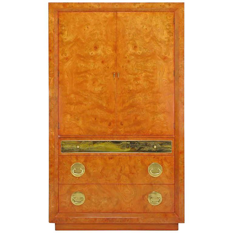 Rare Mastercraft Tangerine Amboyna Burl and Acid Etched Brass Wardrobe Cabinet 1