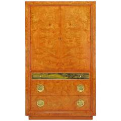 Rare Mastercraft Tangerine Amboyna Burl and Acid Etched Brass Wardrobe Cabinet