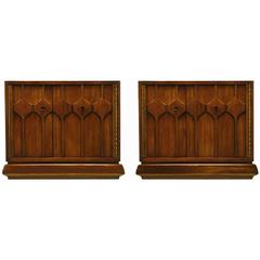 Pair of Walnut Nightstands with Carved Relief Doors