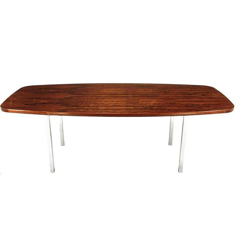 Dunbar Rosewood Dining Table with Polished Stainless Steel Base