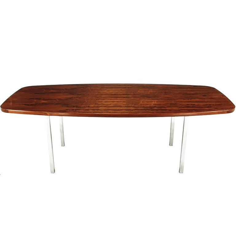 Dunbar Rosewood Dining Table with Polished Stainless Steel Base For Sale
