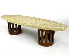 Harvey Probber Terrazzo & Mahogany Double Dodecagon Coffee Table