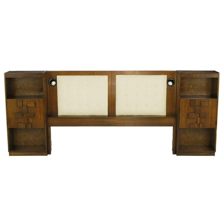 Upholstered King Headboard in Walnut with Block Front Nightstands For Sale
