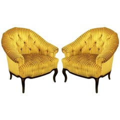 Elegant Pair of Interior Crafts Button-Tufted Barrel-Back Lounge Chairs