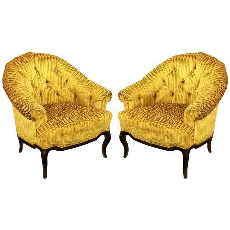 Elegant Pair Of Interior Crafts Button Tufted Barrel Back Lounge Chairs