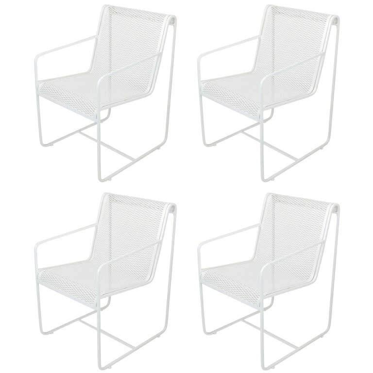 Rare Set of Four Maurizio Tempestini White Lacquer Iron Frame and Mesh Chairs For Sale