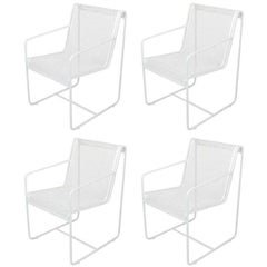 Rare Set of Four Maurizio Tempestini White Lacquer Iron Frame and Mesh Chairs