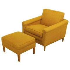 Rolled Arm Lounge Chair & Ottoman in Amber Wool
