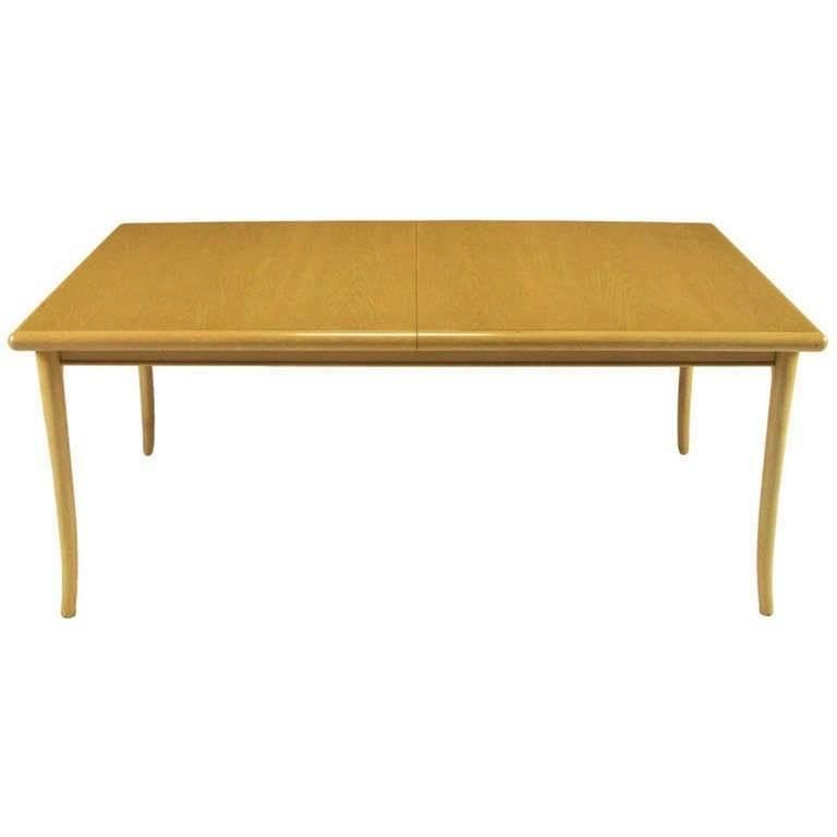 T.H. Robsjohn-Gibbings Bleached and Glazed Mahogany Saber Leg Dining Table