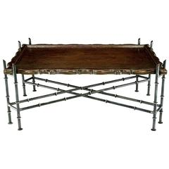 Chinese Chippendale Coffee Table with Stylized Bamboo Iron Base