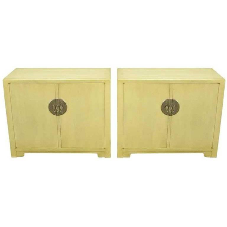 Pair of Baker Far East Collection Ivory Glazed Mahogany Cabinets For Sale