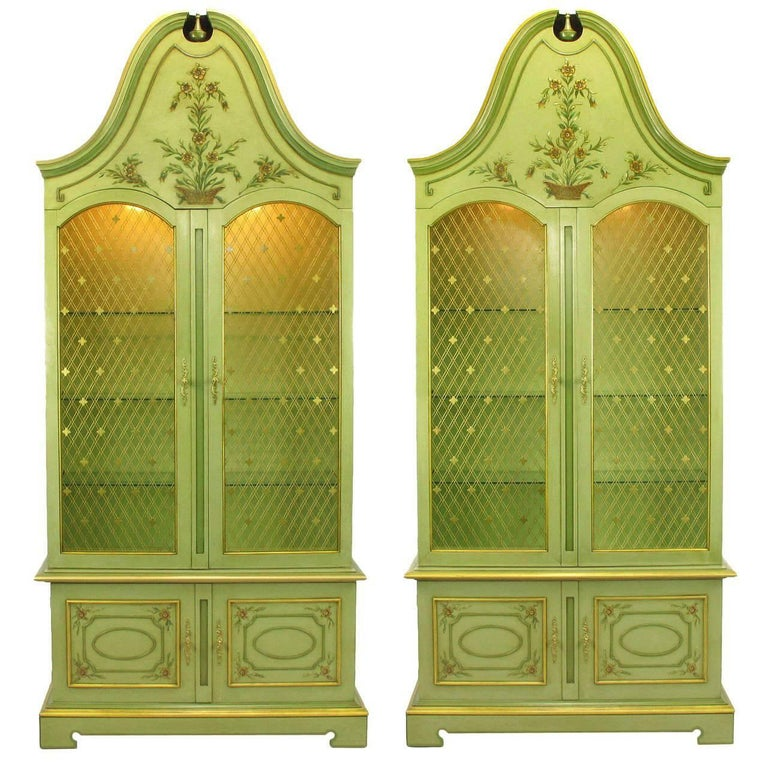 Pair of John Widdicomb Green Regency Style Display Cabinets For Sale