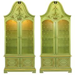 Pair John Widdicomb Green Regency Style Display Cabinets With Handpainted Detail