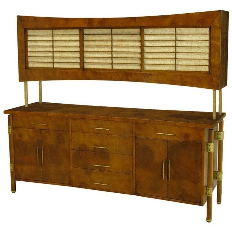 Rare Harold M. Schwartz for Romweber Burled Sideboard with Floating Cabinet For Sale