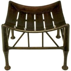 Dark Oak Egyptian Revival Thebes Stool, circa 1900, Liberty & Co. Attributed