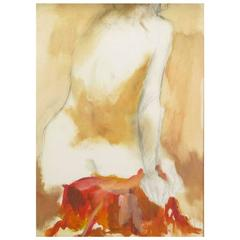Ed Rosen Abstract Nude Oil and Pencil on Paper