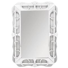Tall Scalloped, Reverse Silvered and Etched Glass Art Deco Mirror