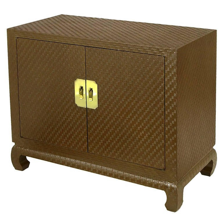 Baker Asian Modern Cabinet in Chocolate Lacquered Grasscloth For Sale