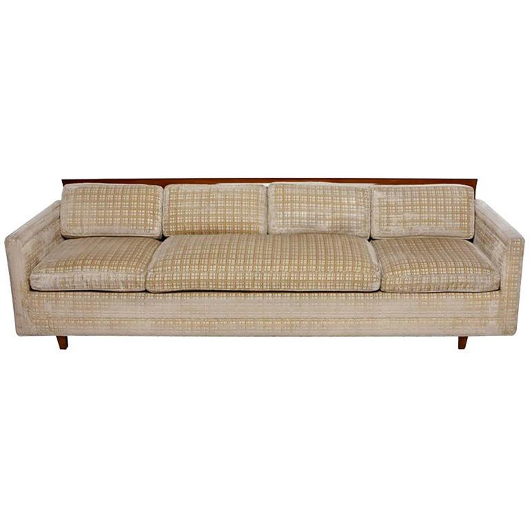 Baker Furniture Walnut & Cut Velvet Sofa with Down-Filled Cushions