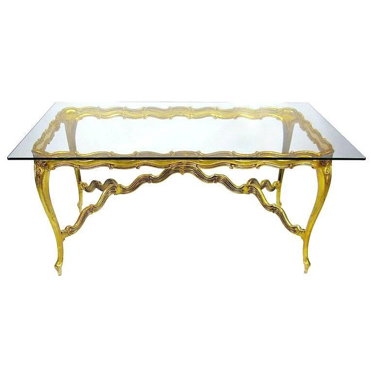 Gilt Aluminium and Glass Louis XV Dining Table For Sale