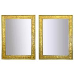 Pair of Large 1920s Egyptian Influenced Gilt Frame Mirrors