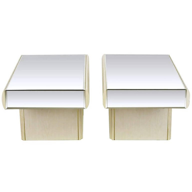 Pair of Italian White Glazed Oak and Mirror Cantilever End Tables 1