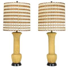Pair of Palatial Terra Cotta Table Lamps with Acanthus Leaf Detail