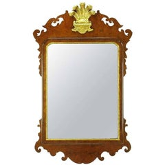 Chippendale Mirror in Burled Walnut with Gilt Plume Surmounter