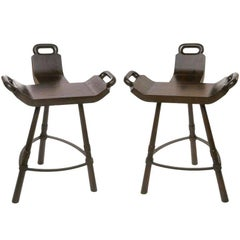 Pair of Primitive Asian Birthing Chair Inspired Bar Stools