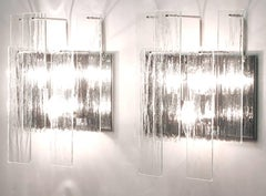 Pair of Chrome and Undulated Glass, Three-Light Sconces