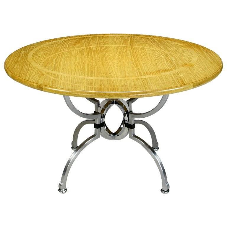 Jay Spectre Eclipse Dining Table in White Oak and Steel