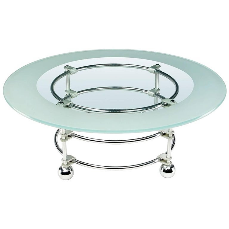 Jay Spectre Chrome, Aluminum and Glass Coffee Table